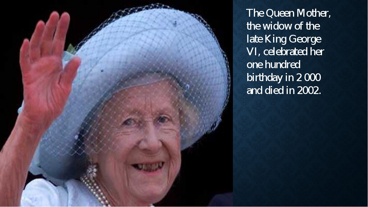 The Queen Mother, the widow of the late King George VI, celebrated her one hu...