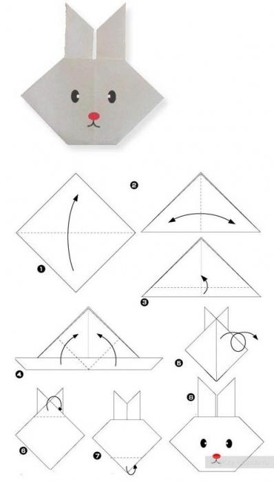 Оригами схема зайчонок