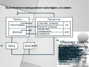 Процессор Память Выполнение команд можно проследить по схеме: ВВОД ВЫВОД ПРОГ