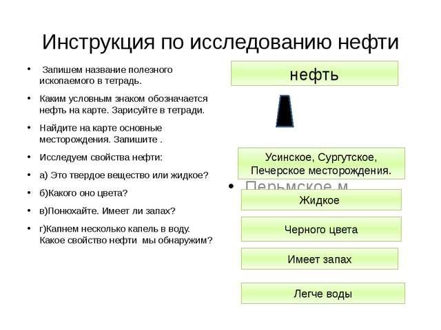 Инструкция по исследованию нефти Запишем название полезного ископаемого в тет...