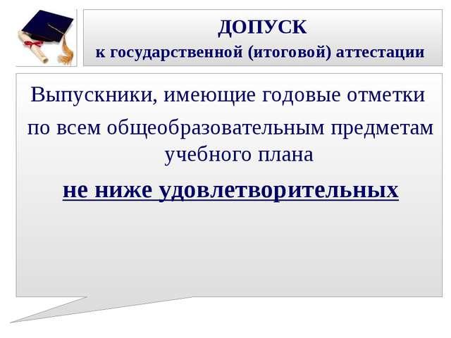 ДОПУСК к государственной (итоговой) аттестации Выпускники, имеющие годовые от...
