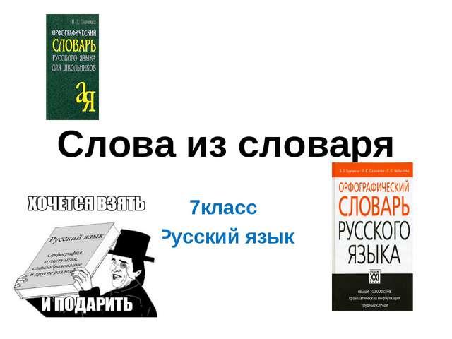 Слова из словаря 7класс Русский язык