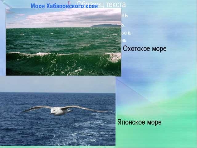 Моря Хабаровского края Охотское море Японское море