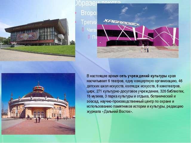 В настоящее время сеть учреждений культуры края насчитывает 6 театров, одну...