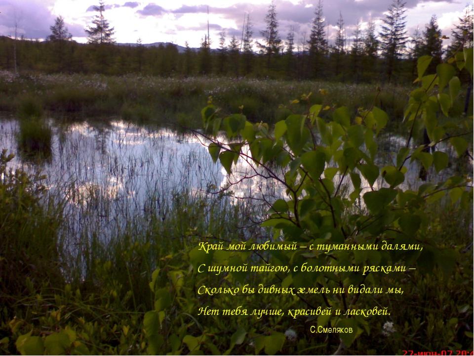Край мой любимый – с туманными далями, С шумной тайгою, с болотными рясками...