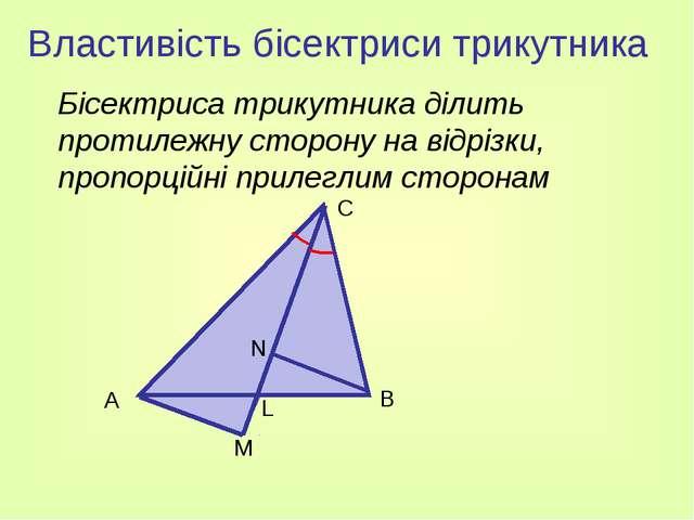 Властивість бісектриси трикутника Бісектриса трикутника ділить протилежну ст...