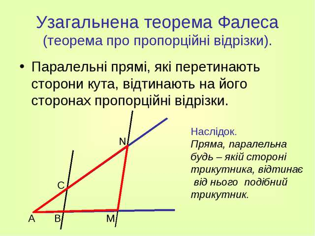 Узагальнена теорема Фалеса (теорема про пропорційні відрізки). Паралельні пря...