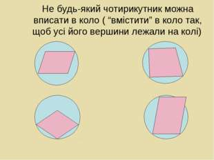 """Не будь-який чотирикутник можна вписати в коло ( """"вмістити"""" в коло так, щоб у"""