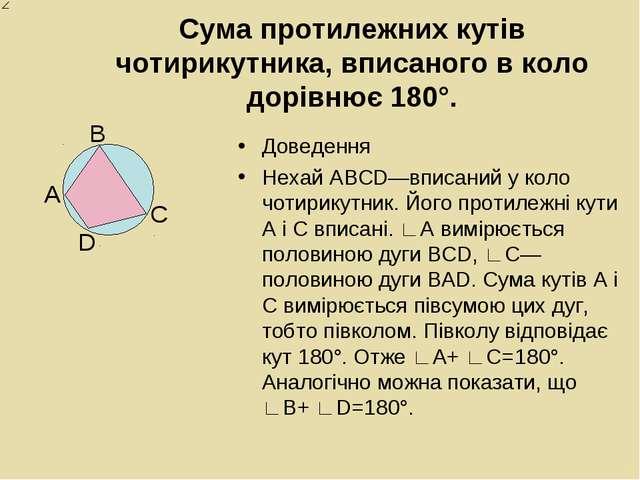 Сума протилежних кутів чотирикутника, вписаного в коло дорівнює 180°. Доведен...