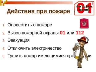 Оповестить о пожаре Вызов пожарной охраны 01 или 112 Эвакуация Отключить элек