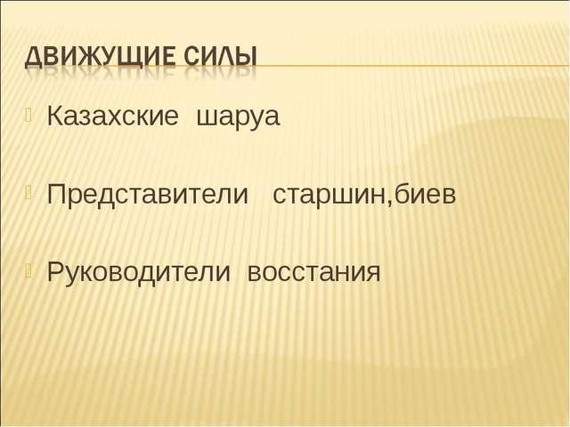 Казахские шаруа Представители старшин,биев Руководители восстания