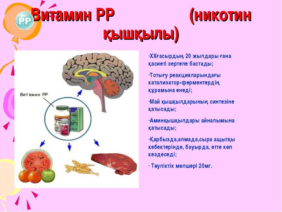 Витамин РР (никотин қышқылы) ХХғасырдың 20 жылдары ғана қасиеті зертеле баста...