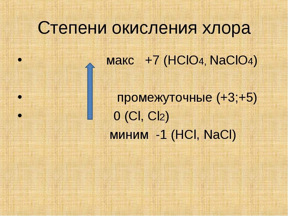 Степени окисления хлора макс +7 (HClO4, NaClO4) промежуточные (+3;+5) 0 (Cl,...