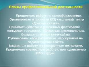 Планы профессиональной деятельности Продолжать работу по самообразованию. Орг