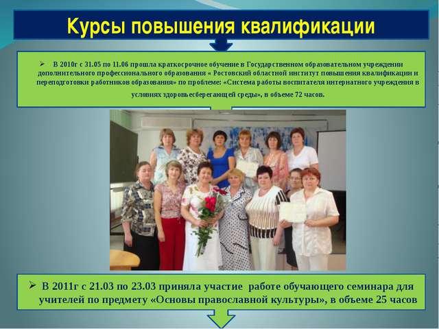 Курсы повышения квалификации В 2010г с 31.05 по 11.06 прошла краткосрочное об...