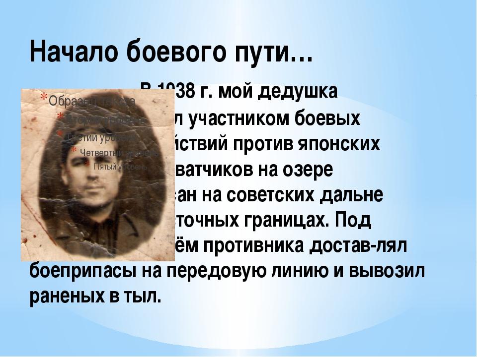 Начало боевого пути… В 1938 г. мой дедушка стал участником боевых действий пр...