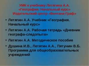 УМК к учебнику Летягина А.А. «География. Начальный курс» Издательский центр «