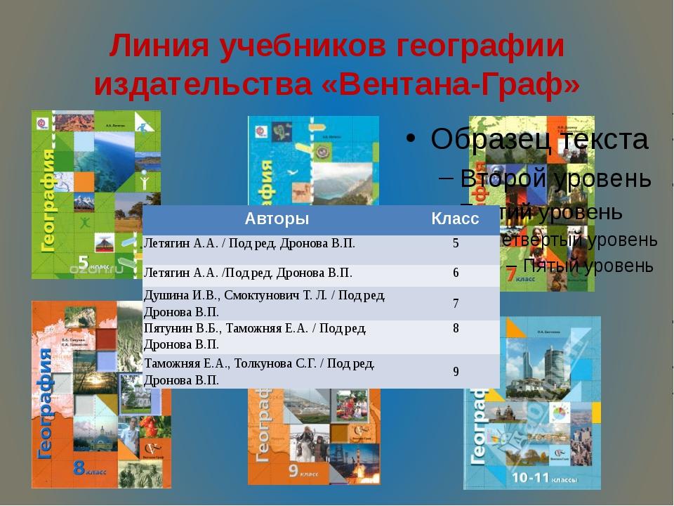 Линия учебников географии издательства «Вентана-Граф» Авторы Класс Летягин А....