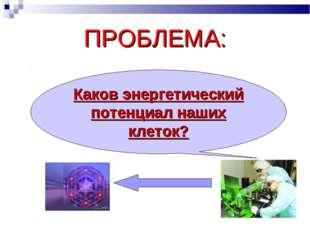 ПРОБЛЕМА: Каков энергетический потенциал наших клеток?