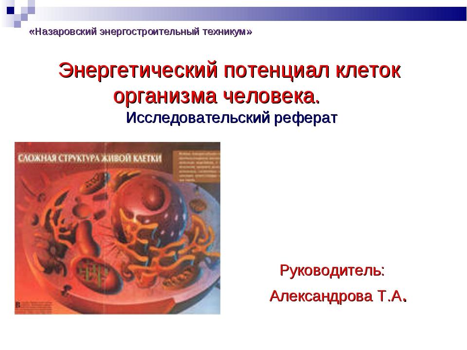 Презентация исследовательского реферата на тему quot  слайда 1 Энергетический потенциал клеток организма человека Исследовательский реферат