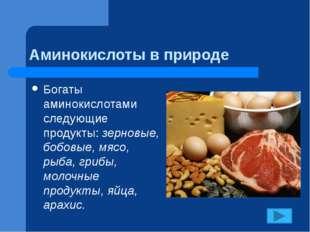 Аминокислоты в природе Богаты аминокислотами следующие продукты: зерновые, бо
