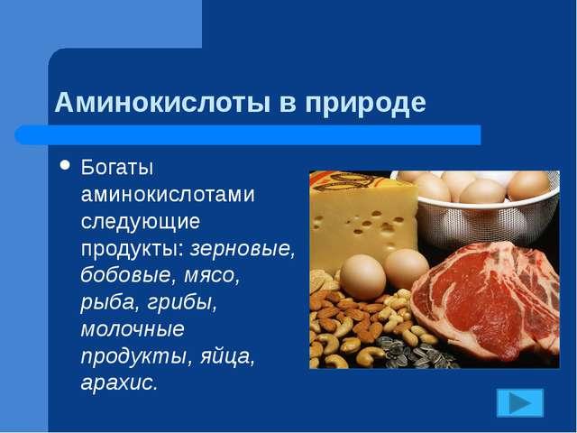 Аминокислоты в природе Богаты аминокислотами следующие продукты: зерновые, бо...