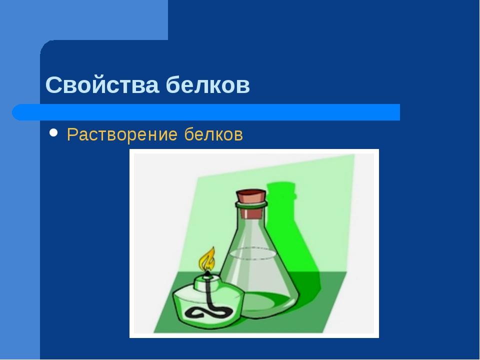 Свойства белков Растворение белков