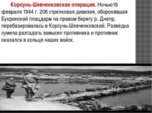 Корсунь-Шевченковская операция. Ночью16 февраля 1944 г. 206 стрелковая диви