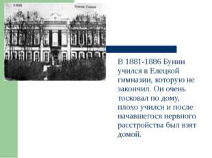 В 1881-1886 Бунин учился в Елецкой гимназии, которую не закончил. Он очень т