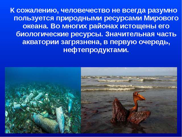 К сожалению, человечество не всегда разумно пользуется природными ресурсами...