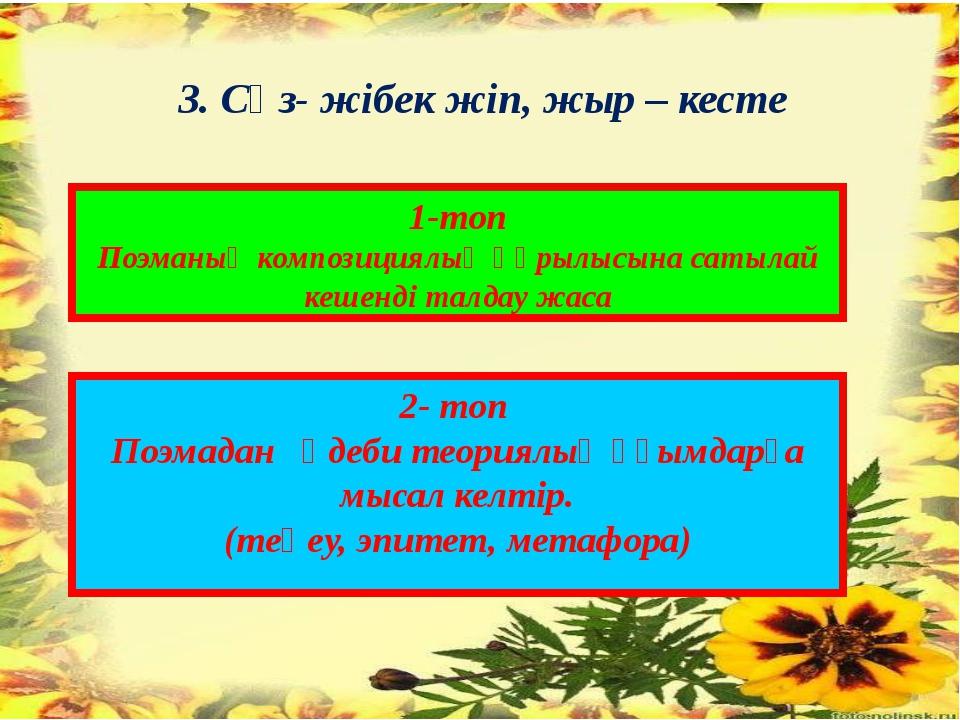 3. Сөз- жібек жіп, жыр – кесте 1-топ Поэманың композициялық құрылысына сатыла...