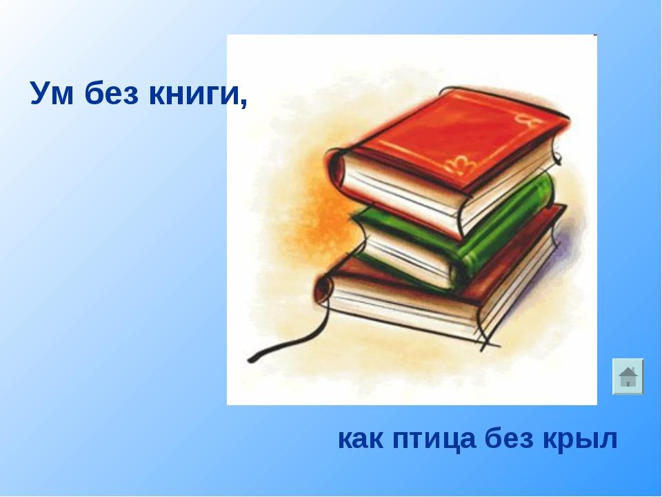 как птица без крыл Ум без книги,