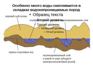 Особенно много воды скапливается в складках водонепроницаемых пород