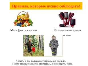 Мыть фрукты и овощи Не пользоваться чужим расческами Ходить в лес только в с