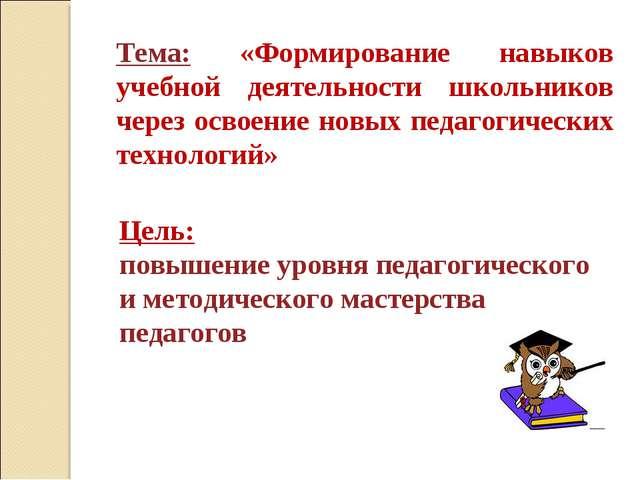 Тема: «Формирование навыков учебной деятельности школьников через освоение но...