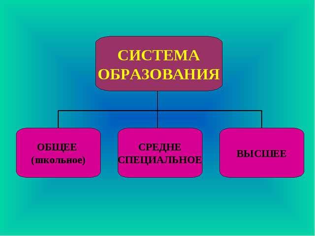 ОБЩЕЕ (школьное) СРЕДНЕ СПЕЦИАЛЬНОЕ ВЫСШЕЕ