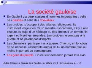 En Gaule il y a deux classes d'hommes importantes : celle des druides et cell