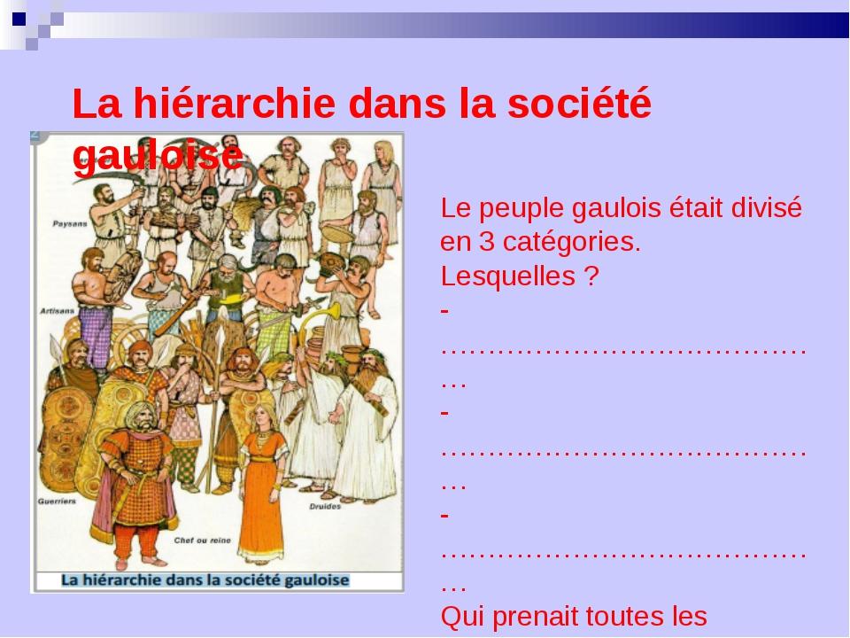 Le peuple gaulois était divisé en 3 catégories. Lesquelles ? - ……………………………………...