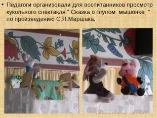 """Педагоги организовали для воспитанников просмотр кукольного спектакля """" Сказк"""