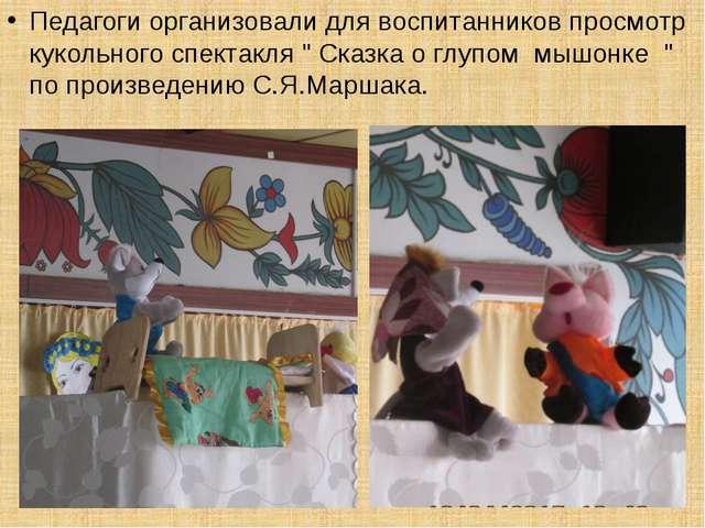 """Педагоги организовали для воспитанников просмотр кукольного спектакля """" Сказк..."""