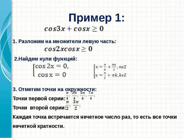 Пример 1: 1. Разложим на множители левую часть: 2.Найдем нули функций: 3. Отм...