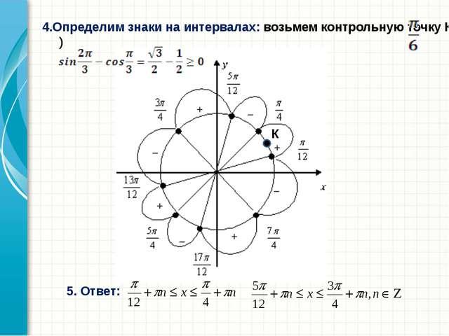 4.Определим знаки на интервалах: возьмем контрольную точку К( ) К 5. Ответ: