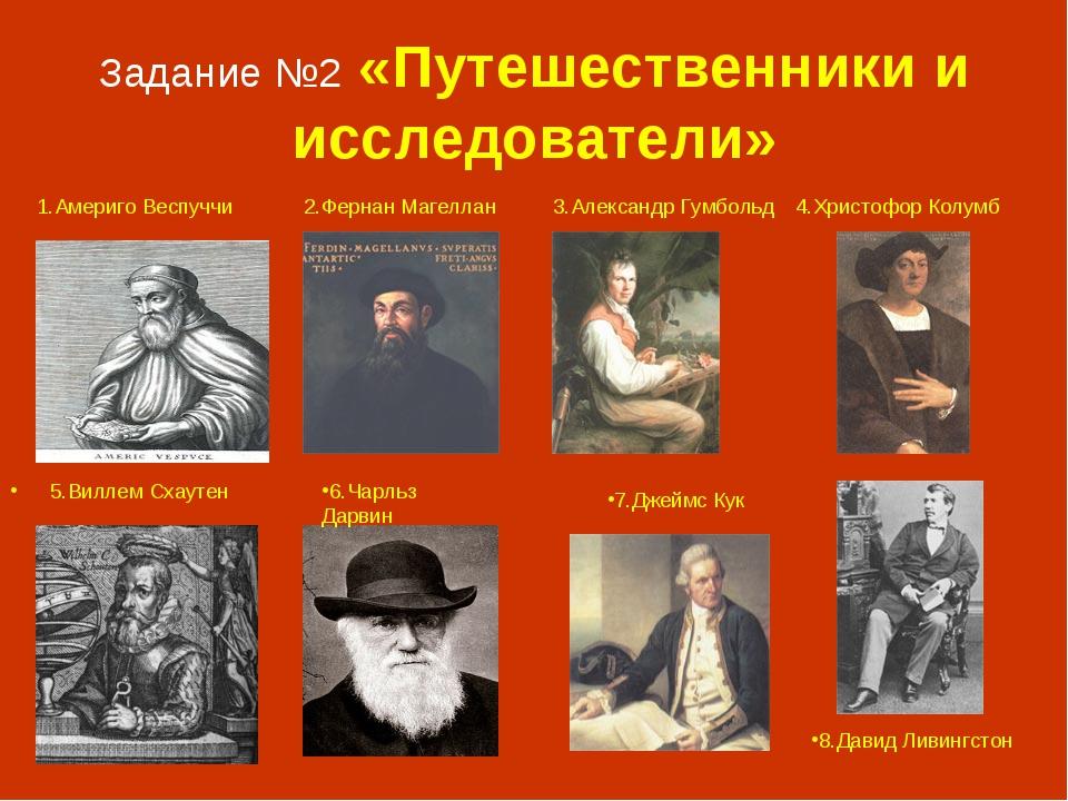 Задание №2 «Путешественники и исследователи» А 5.Виллем Схаутен 8.Давид Ливин...