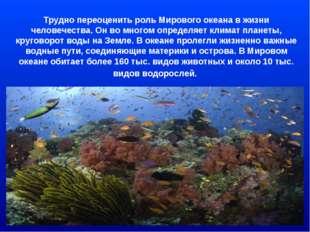 Трудно переоценить роль Мирового океана в жизни человечества. Он во многом оп