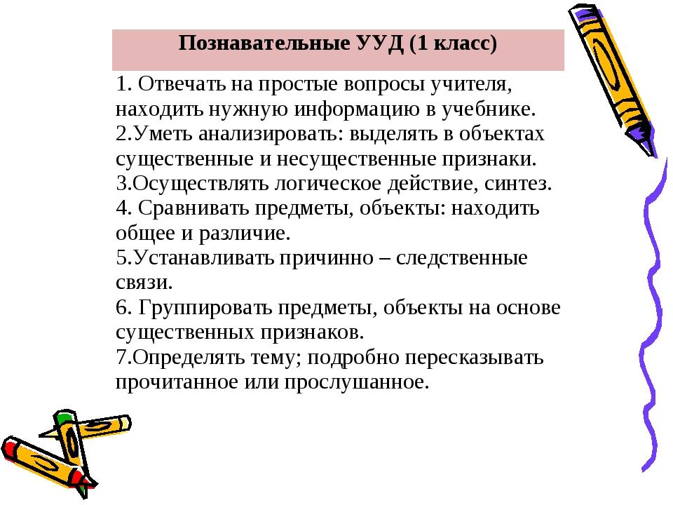 Познавательные УУД (1 класс) 1. Отвечать на простые вопросы учителя, находить...