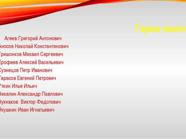 Герои-земляки Агеев Григорий Антонович Аносов Николай Константинович Гришонк...