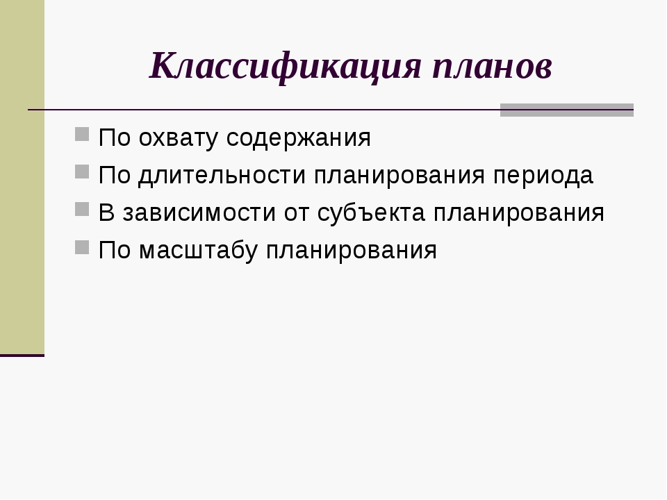 Классификация планов По охвату содержания По длительности планирования период...