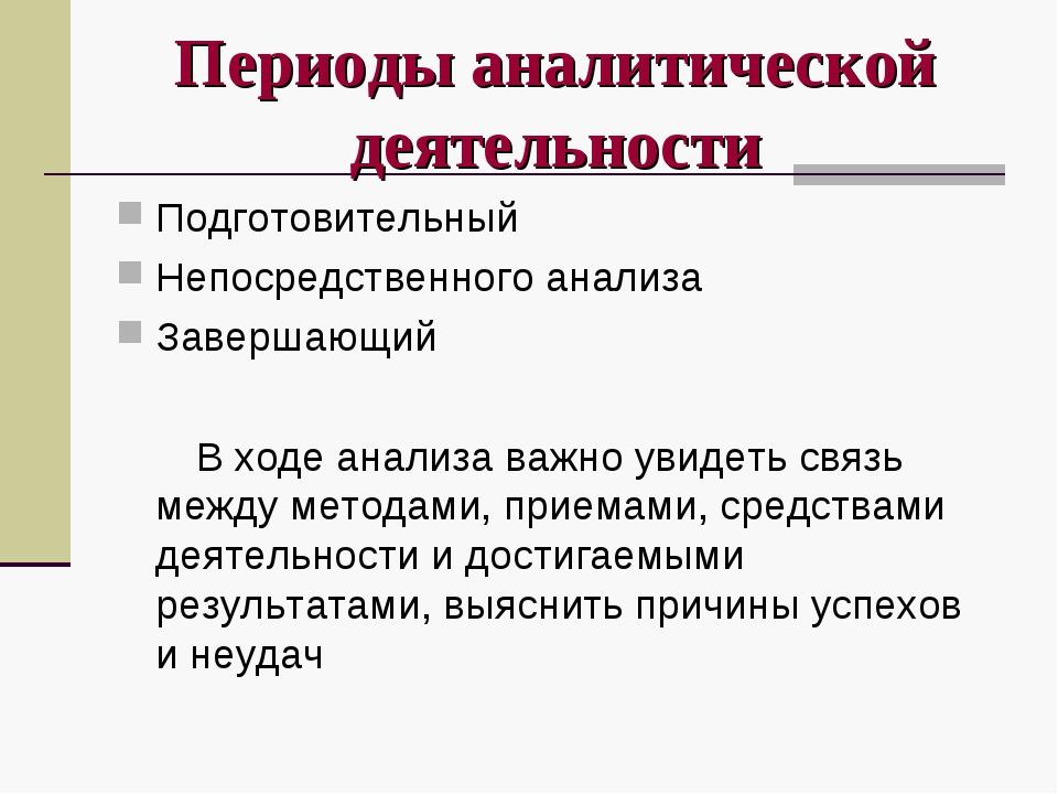 Периоды аналитической деятельности Подготовительный Непосредственного анализа...