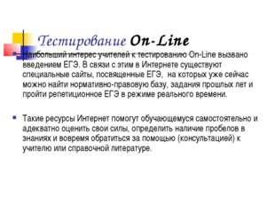 Тестирование On-Line Наибольший интерес учителей к тестированию On-Line вызва