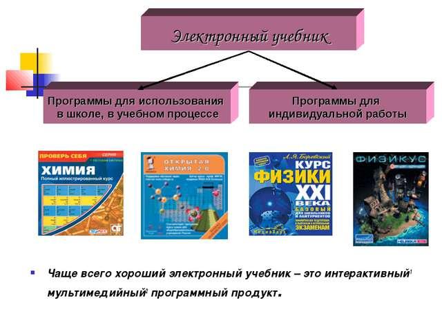 Чаще всего хороший электронный учебник – это интерактивный1 мультимедийный2...